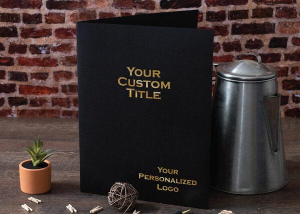 Custom Linen Pocket Folder - Gold Foil Stamp - Black
