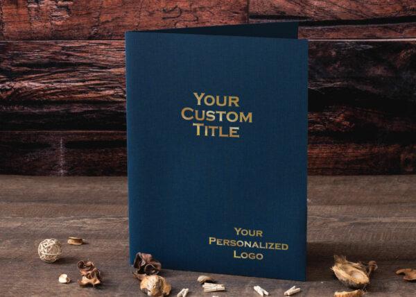 Custom Linen Pocket Folder - Gold Foil Stamp - Blue