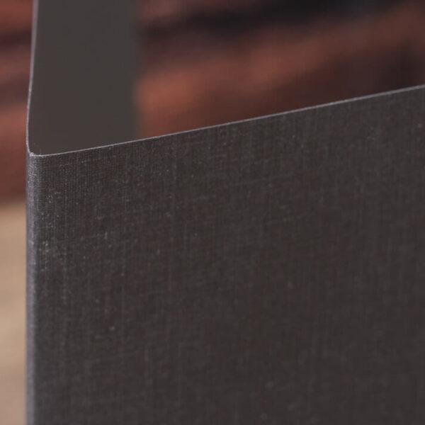 Custom Linen Pocket Folders - Detail - Black