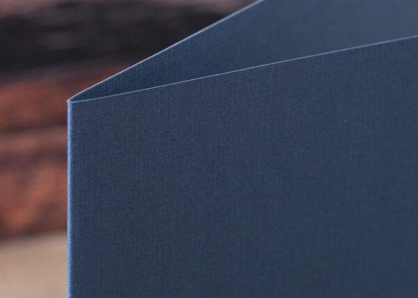 Custom Linen Pocket Folders - Detail - Blue