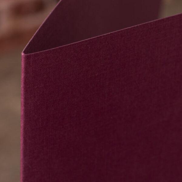 Custom Linen Pocket Folders - Detail - Burgundy