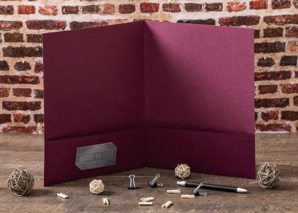 Custom Pocket Folder - Interior Detail - Burgundy