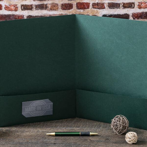 Custom Pocket Folder - Interior Detail - Green