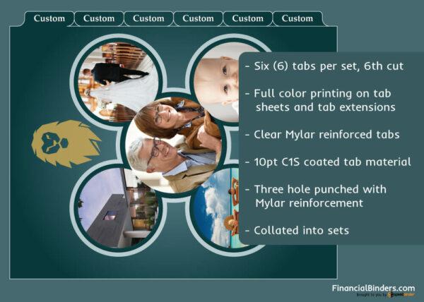 Full Color Custom Index Tabs - Six Tabs Per Set