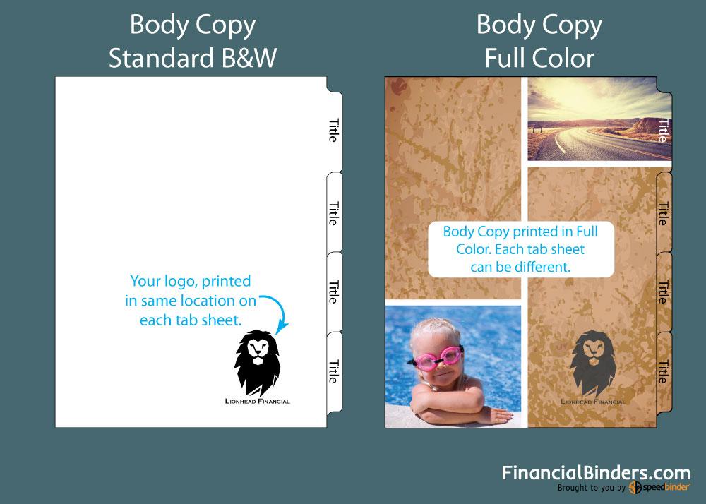 Index Tabs 101 - Body Copy - Color VS B&W